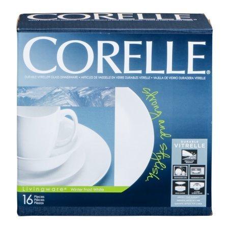 Corelle Livingware - Vajilla de cristal resistente, color blanco helado, 16 unidades