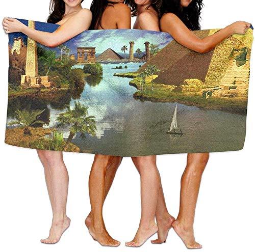 31x51 Inch High Absorbency Bath Towel Pyramids Egypt Water Lightweight Large Bath Sheet for Beach Home Spa Pool Gym Travel