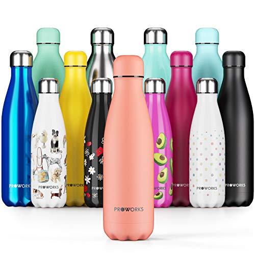 Proworks Bottiglia Acqua in Acciaio Inox, Senza BPA Vuoto Isolato Borraccia Termica in Metallo per Bevande Calde per 12 Ore & Fredde 24 Ore, Borraccia per Sport e Palestra - 500ml - Pesca