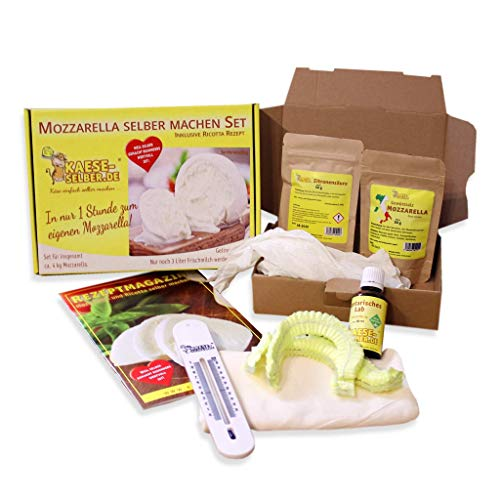 Set per la fabbricazione di mozzarella + ricotta In solo 1ora al proprio mozzarella Con ricetta (semplice passo per passo istruzioni)