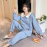 STJDM Bata de Noche,Ladies Pajamas Set Blue Soft Autumn Winter Sleepwear Sweet Bathrobe Warm Cardigan Long-Sleeve Two Piece Home Service XXL Blue