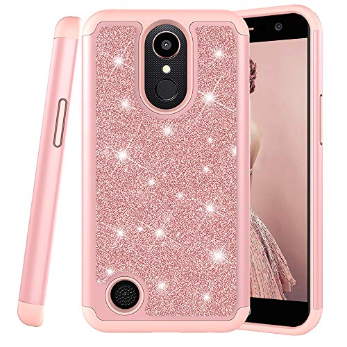 COTDINFOR LG K10 2017 Hülle Cute Glitzer Handyhülle Heavy Duty Protective Dual Layer Silicone Plastic Armor Shock Absorbing Etui für LG K20 Plus / K10 2017. 2 in 1- Bling Rose Gold YB