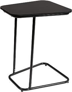 DOEWORKS Bedside Computer Desk,Black Side Table Slide Under Sofa Side Table, Metal Slats Snacks and Laptop Tray