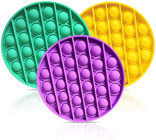 Push pop pop Bubble Squeeze Sensory Fidget Toy, Relieve The Stress of Autism and Help Restore Emotions, Anti-Anxiety Tool for Women Kids Teens Old Young Adult (3 Pack; Purple, Green & Yellow)