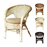 Pelangi Handmade Rattan Dining Wicker Chair W/Cushion, White Wash