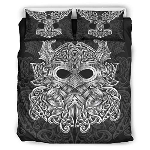 Viking Celtic Thor Hammer Bedding Set 3 Polyester Fabric Bed Linen Super Soft Duvet Cover with Zip Includes King 1 Duvet Cover & 2 Pillowcases White 264 x 229 cm