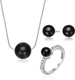 Mestige Women's Black Agate Visionary with Swarovski Crystals Jewelry Set - MSSE3051