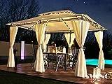 Swing & Harmonie LED - Pavillon 3x4m Minzo - inkl. Seitenwände mit LED Beleuchtung + Solarmodul Gartenpavillon Partyzelt Gartenzelt (ohne Moskitonetz, anthrazit)
