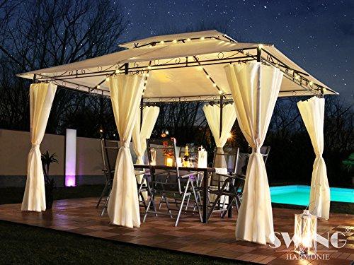 Swing & Harmonie Luxus LED - Pavillon 3x4m Minzo - inkl. Seitenwände mit LED Beleuchtung + Solarmodul Gartenpavillon optional mit Moskitonetz Partyzelt Gartenzelt (mit Moskitonetz, rot)