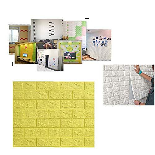 Papel pintado con patrón de ladrillo amarillo, 10 papeles pintados en 3D, 70 x 77 cm, papel autoadhesivo impermeable a prueba de humedad, utilizado para la decoración de paredes