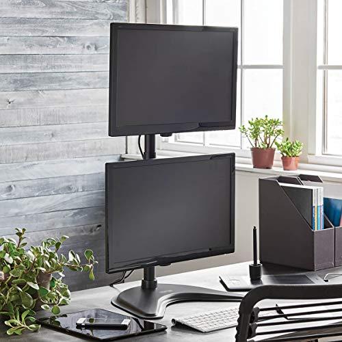 Tripp Lite Dual Monitor Mount Stand/Clamp, Vertical, Swivel & Tilt, 15-27 Inch, Flat Screen Display, Desktop Mount, Black (DDR1527SDC)