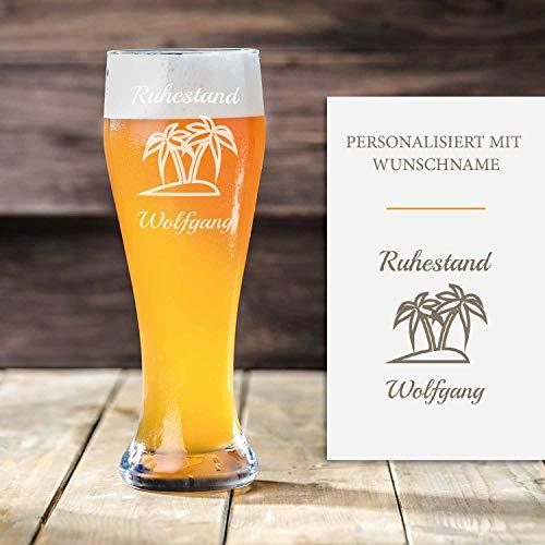 Smyla Premium Weizenbierglas Ruhestand mit Gravur | Geschenk-Idee | personalisiertes Bier-Glas mit Name | Geschenk für Männer