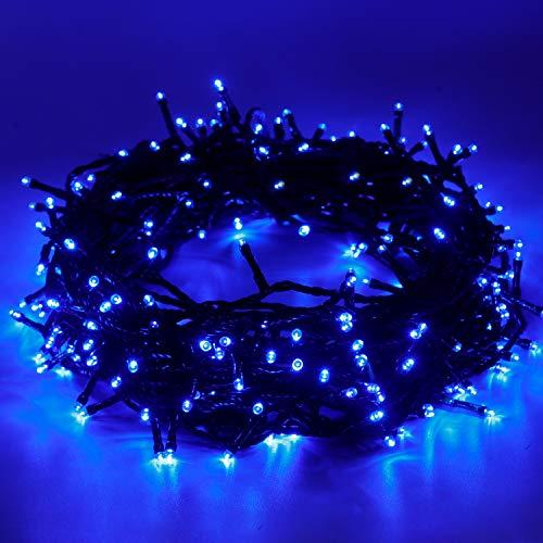 EPESL Luci natalizie 15m 120 leds con 8 modalità di memoria end to end estensibile catene luminose esterni ed interni decorazione per giorno di natale alberi casa Halloween festa giardino - blu