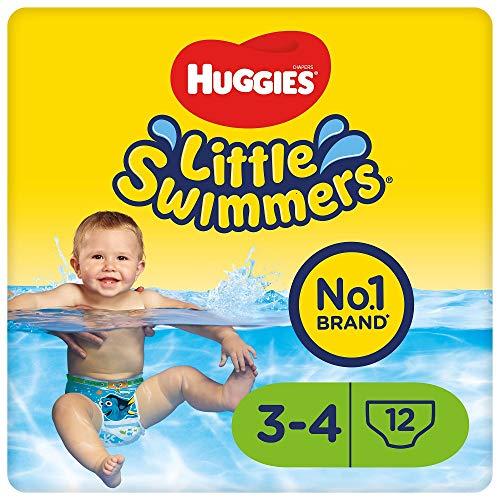 Huggies Maillots de bain jetables pour bébés, Taille 3-4 (7-15 kg), 36 couches-culottes, Paquet de 3 x 12 couches-culottes, Unisexe, Maxi pack, Petits nageurs