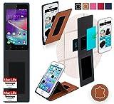 Hülle für Wiko Rainbow Lite 4G Tasche Cover Hülle Bumper | Braun Leder | Testsieger