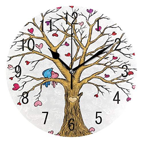 Use7 Home Decor Baum des Lebens Herz Runde Acryl Wanduhr nicht tickend leise Uhr Kunst für Wohnzimmer Küche Schlafzimmer