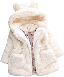 Baby Little Girls Autumn Winter Fleece Coat Kids Faux Fur Jacket with Hood Thick Outwear Warm Overcoat