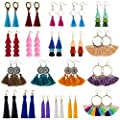 Tassel Earrings for Women - 20 Pairs Colorful Bohemian Long Layered Fringe Earrings Set Hoop Tiered Dangle Drop Tassle Earrings Pack Fashion Jewelry for Christmas Valentine Birthday Girls Gift