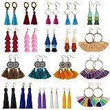Tassel Earrings for Women - 20 Pairs Colorful Bohemian Long Layered Fringe Earrings Set Hoop Tiered Dangle Drop Tassle Earrings Pack Fashion Jewelry for Christmas Valentine Birthday Girls Gift