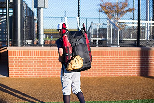 EASTON E610CBP Catchers Bat & Equipment Backpack Bag, Black, 2021, Baseball Softball, Vented All Gear Compartment, 2 Bat Sleeves, Internal Shelf, Vented Shoe Pocket, Mesh Leg Guard Sleeves