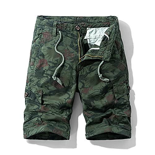 EMPERSTAR Pantalones Cortos de natación para Hombre Pantalones Cortos de Carga Ligeros Pantalones de algodón para Exteriores de Trabajo utilitario con múltiples Bolsillos Size30