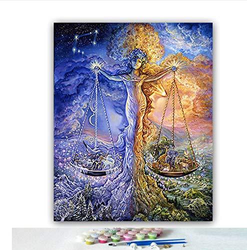 JJH DIY ausmalbilder nach Zahlen mit Farben Waage konstellation Baum Bild Zeichnung malen nach Zahlen Dekoration einzigartiges Geschenk 40 * 50 cm Rahmenlos