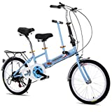ZXC Bicicleta Plegable compartida Entre Padres e Hijos de 20 Pulgadas para Recoger a niños y bebés Asiento Doble para Mujeres Adultas Damas Bicicleta Plegable Simple y fácil de Usar