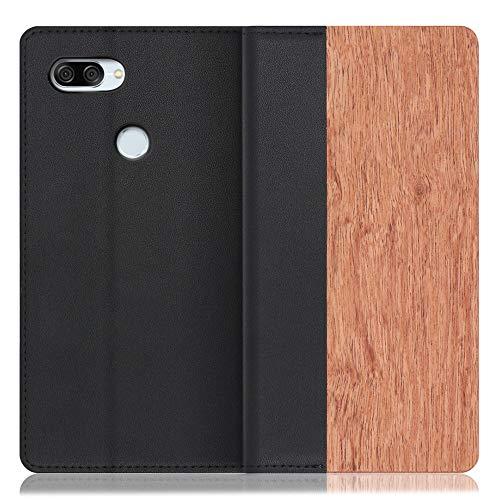 LOOF Nature ZenFone Max Plus (M1) / ZB570TL ケース 手帳型 カバー 本革 天然木 ベルト無し ウッド 木製 木 カード収納 カードポケット 本革 高級 スタンド機能 手帳型ケース スマホケース (花梨)