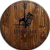 Moon Inc Large Wall Clock Buffalo Trace Kentucky Bourbon Whiskey Bar Sign Home Decor Classic Walnut 15 Inch, Brown