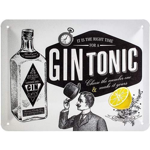 Nostalgic-Art Cartel de Chapa Retro Gin Tonic – Idea de Regalo como Accesorio de Bar, metálico, Diseño Vintage para decoración Pared, 15 x 20 cm