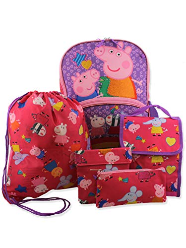 Peppa Pig Girls 5 piece Backpack and Lunch Bag School Set (One Size, Pink/Purple)