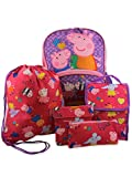 Peppa Pig Girls 5 piece Backpack and Snack Bag School Set (One Size, Pink/Purple)