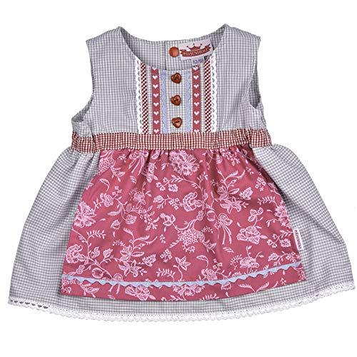 Dirndl Kleidchen, Süßer Einteiler, Angenähte Schürze, 100% Baumwolle, Farbe Grau Rosa, Tracht für fesche Mädchen in Größe 74/80