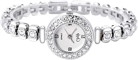 Anuimoar Expansion Adjustable White Gold Shiny Diamond Ladies Analog Quartz Watch (White Gold)