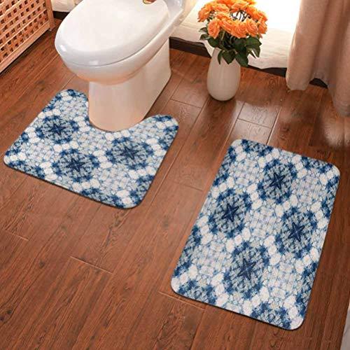 Tapis de salle de bain Tie Dye, motif tribal Tie Dye Technique Art en vedette des formes étranges et brumeuses dans un axe symétrique Design de salle de bain Bleu Gris