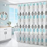 Sunshine smile Cortina de baño impermeable, 180 x 200 cm, estrecha, cortina de ducha transparente, cortina de baño textil, anillos de cortina de ducha, antimoho, tela de poliéster resistente al moho