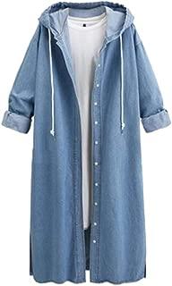 Women Hooded Coat Autumn Long Sleeve Denim Jacket Long Jean Outwear Overcoat