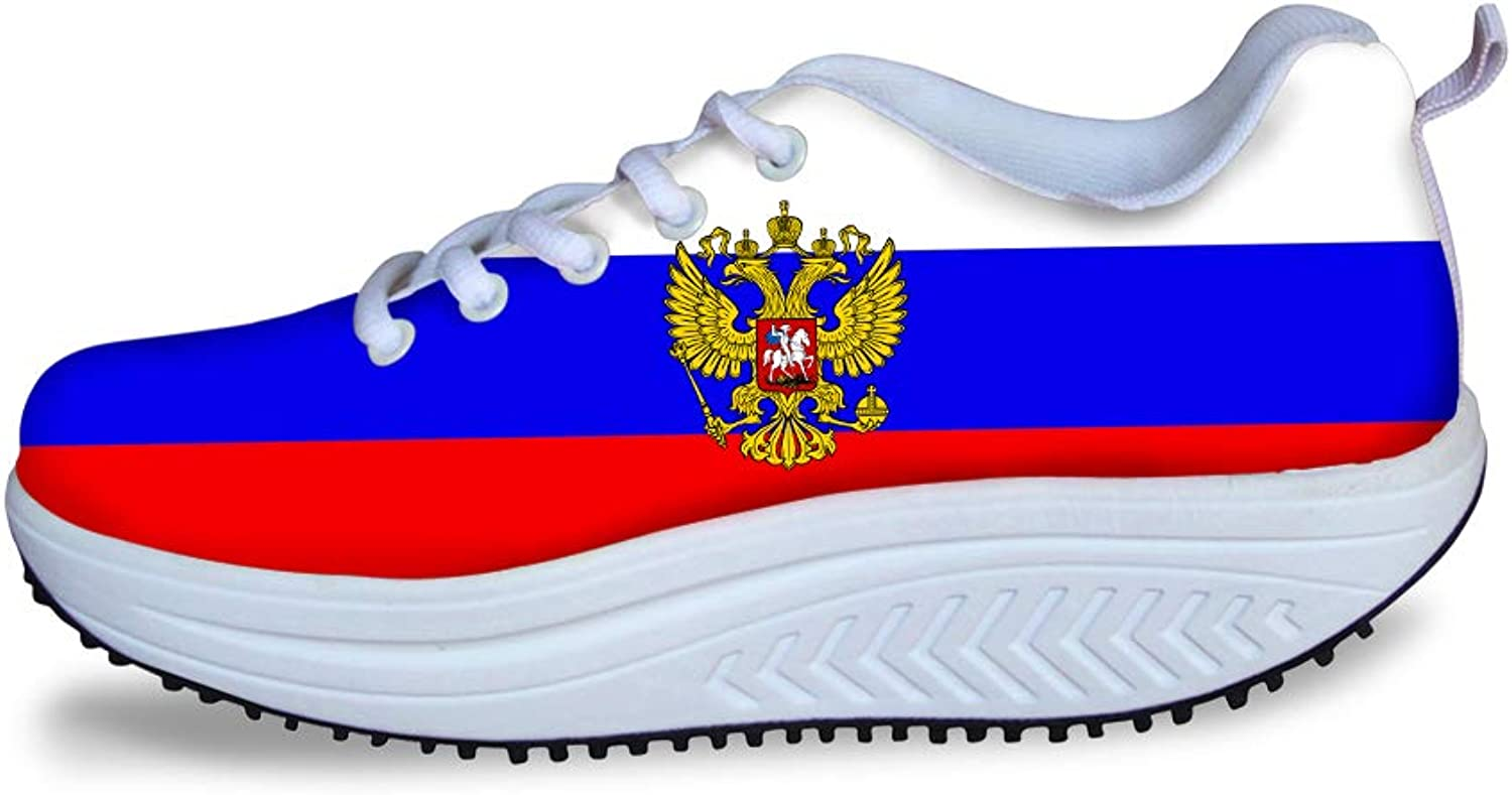 Owaheson Swing Platform Toning Fitness Casual Walking shoes Wedge Sneaker Women Russia Flag National Emblem