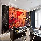 Papier peint 3D Personnalisé Mur Papier Peint 3DIndeClassiqueInde Masquée Beauté Photo Papiers Peints pour Salon Ethnique Beauté Mur Papes Décor À La Maison-350X250CM