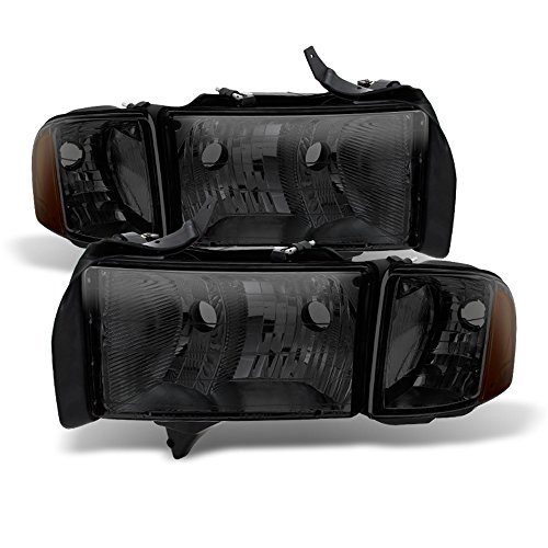 ACANII - For Smoked 1999-2002 Dodge Ram 1500 2500 23500 Sport Headlights Corner Signal Lamps Driver + Passenger Side