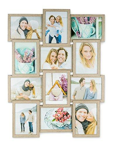levandeo Holz Bilderrahmen Farbe: Eiche gekälkt hochwertig verarbeitet für 12 Fotos 13x18cm mit Glasscheiben - Querformat und Hochformat Fotogalerie Collage Fotocollage Bildergalerie Fotorahmen