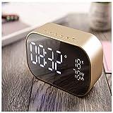 LED-Digital-Wecker/Radiowecker/mit LED-Spiegelanzeige Doppel Wecker Design, Temperaturanzeige, für Schlafzimmer, Nacht, Schreibtisch, Regal,Gold