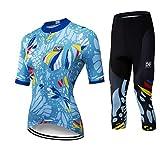 X-Labor Conjunto de maillot de ciclismo para mujer, de secado rápido, manga corta y pantalón 3/4, con almohadilla 3D para el sillín, Mujer, azul, EU L (Tag:2XL)