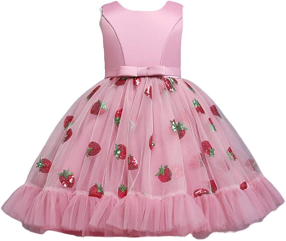 WAWALI Flower Formal Casual Princess Dresses Strawberry Pattern Sequins Kids Vintage Infinity 50's Girls Dress
