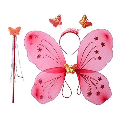 LUOEM, costume da fata per bambina con ali di farfalla, bacchetta magica e diadema, giocattolo formato da 3 pezzi (rosso lucido)