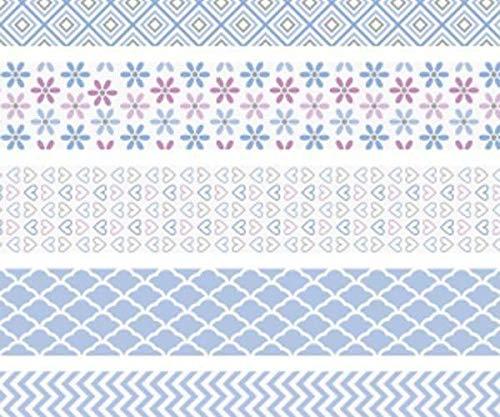 Ensemble De Papier Adhésif Mini Bracelet Bleu 1, du Ruban Adhésif, des Accessoires Planner,2cmx3m (5pcs), Heyda papier, de Papier Washi Tapes, Scrapbooking
