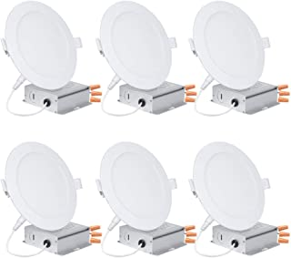 Slight Lighting 6 Pack 6in LED Disk Light,12W=(80 Watt Repl.) 1050LM 3000K(Warm White) Energy Star IC Rated Recessed Retrofit Ceiling Lights ,Dimmable, Fixture Installs into Junction Box.