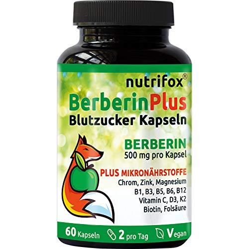Berberin HCl 500 mg pro Kapsel + Vitamine & Mineralien (z.B. Chrom, Zink, Magnesium, B6, B12, Vitamin D + K2, Biotin) 60 vegane Blutzucker Kapseln von nutrifox, ohne Magnesiumstearat, aus Deutschland