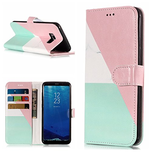 Gostyle Samsung Galaxy S8 Plus Leather Wallet Case,Colorful Marble Pattern Flip Stand Cover with Credit Card Holder,Soft TPU Inner Shell with Magnetic Closure Book Style Cover