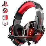 Auriculares Gaming PS4, Galopar Cascos Gaming, Premium Stereo con Microfono Gaming Headset con 3.5mm Jack para PC/Xbox One/Móvil - con Gancho y 2 x Cable de Extensión-Rojo